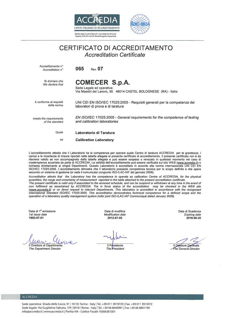 Attestati Accredia E Sit Certificati Di Taratura